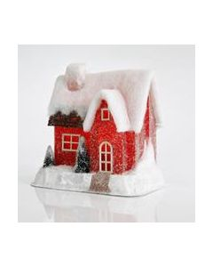 Διακοσμητικό Φωτιζόμενο  Led Σπιτάκι Κόκκινο 25*16*28 εκ. Magic Christmas by Eurolamp 40234