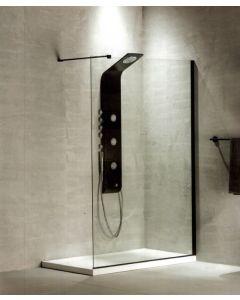 Διαχωριστικό Ντουσιέρας 110 εκ. 200 εκ. Κρύσταλλο  8 χιλ.  Black Matt Clean Glass με Κάθετο Βραχίονα Στήριξης 100 εκ. Devon Iwis Walk-In IW110C-400