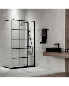 Διαχωριστικό Ντουσιέρας  90 εκ. 200 εκ. Κρύσταλλο  8 χιλ. Decor Black Matt Clean Glass με Βραχίονα 100 εκ. Devon Iwis Walk-In IW90DC-400