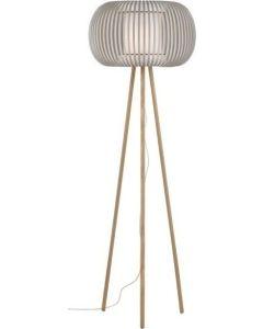 Επιδαπέδιο Φωτιστικό, Καπέλο Λευκό με Μπεζ - Βάση Ξύλινη Τρίποδας Viokef Iris 4160900