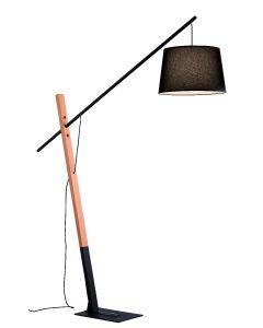 Επιδαπέδιο Φωτιστικό Μεταβλητού ύψους Μαύρο Μέταλλο / Ξύλο Viokef Crane 4204100