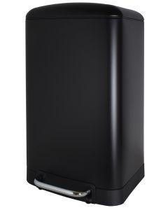 Κάδος 30 Λίτρων Ορθογώνιος με πεντάλ Μαύρο Ματ, Απαλό Κλείσιμο Soft Close Ecocasa 01-5610