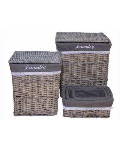 Καλάθια Απλύτων με καπάκι Σετ 2 & 3 Καλάθια Ανοιχτά Γκρι Etoile  Laundry BB091