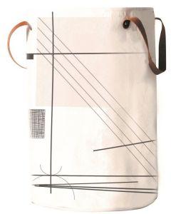 Καλάθι  Απλύτων Υφασμάτινο Ασπρόμαυρο Δερμάτινες Χειρολαβές Abstract Art Ecocasa 02-3289