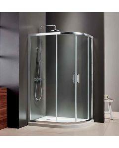 Καμπίνα Ντουσιέρας Ασσύμμετρη 70*90 εκ.  Mirror Finish, 6 χιλ. Glean Glass, Ύψος 185 εκ. Axis Quadrant QX7090C-100