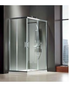 Καμπίνα Ντουσιέρας Τετράγωνη 110*110εκ.,2 σταθερά & 2 συρόμενα  Clean Glass, Ύψος 185 εκ.Προφίλ Χρώμιο, Axis Corner Entry CX110C-100