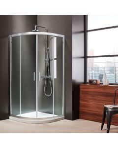 Καμπίνα Ντουσιέρας 100*100 εκ.1/4 Κύκλου ,2 σταθερά & 2 συρόμενα, Mirror Finish, 6 χιλ.185 εκ. Clean Glass Axis Quadrant  QX100C-100