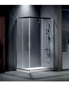 Καμπίνα Ντουσιέρας 100*80 εκ.Γωνιακής εισόδου 2 σταθερά-2 συρόμενα, Mirror Finish, 195 εκ. Clean Glass Devon Flow Corner Entry CF10080C-100