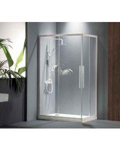Καμπίνα Ντουσιέρας 100*80 εκ.Γωνιακής εισόδου 2 σταθερά-2 συρόμενα, White Matt, Ύψος 195 εκ.  Clean Glass Devon Flow Corner Entry CF10080C-300