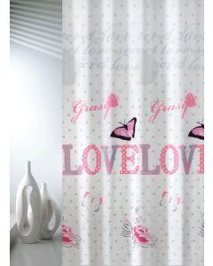 Κουρτίνα Μπάνιου 180*200εκ. Υφασμάτινη Polyester Joy Bath Love 002-00003