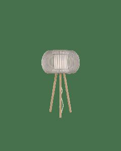 Λαμπατέρ Επιστραπέζιο Ξύλινη βάση / Υφασμάτινο Καπέλο Λευκό με Μπεζ  Viokef Iris 4160800