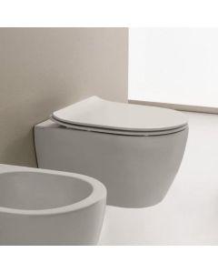 Λεκάνη Κρεμαστή 50,5 εκ. Rimless Clean Flush με κάλυμμα βακελίτη αποσπώμενο Slim Soft Close, Λευκό Ματ Scarabeo Moon Color 552000SC-301