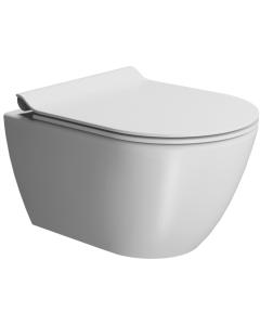 Λεκάνη Κρεμαστή 50 εκ. Κομπλέ με κάλυμμα βακελίτη Slim Soft close Αποσπώμενο Χρώμα White matt GSI Pura Color Swirl 881600SC-301