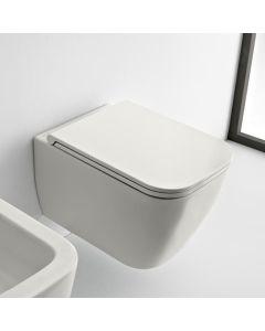 Λεκάνη Κρεμαστή 52 εκ. Rimless Clean Flush με κάλυμμα βακελίτη αποσπώμενο Slim Soft Close, Λευκό Ματ Scarabeo Theorema 512600SC-301