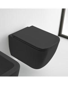 Λεκάνη Κρεμαστή 52 εκ. Rimless Clean Flush με κάλυμμα βακελίτη αποσπώμενο Slim Soft Close, Μαύρο Ματ Scarabeo Theorema 512600SC-401