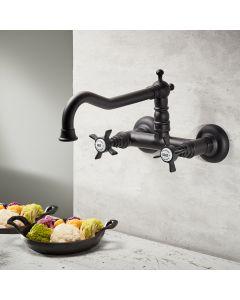 Μπαταρία Κουζίνας Τοίχου Retro Μαύρο Ματ Bugnatese Princeton 852-400