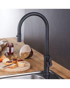 Μπαταρία Νεροχύτη Μαύρο Ματ, Περιστρεφόμενο ρουξούνι με συρόμενο ντους 2 Λειτουργιών (Shower-Spray) Armando Vicario Urban 400702-400
