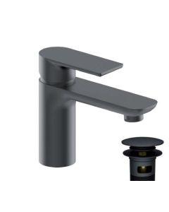 Μπαταρία Νιπτήρα Αναμεικτική Μαύρο Ματ με βαλβίδα clic-clac Fontana Black Matt Felice B8011