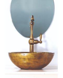 """Νιπτήρας  Επιτραπέζιος Χειροποίητος 39*30*15 εκ. Χρυσός Travertino """"ΑΦΡΟΔΙΤΗ"""" 90069"""