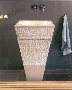 Νιπτήρας Πέτρινος Μπεζ Sangha Bati Stone 45*45*90cm