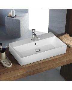 Νιπτήρας Πορσελάνη Λευκός Επιτραπέζιος /Επικαθήμενος/ Κρεμαστός  70*42 εκ.  Bianco Ceramica Tetra N 32070