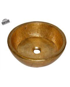 Νιπτήρας  Vintage Επιτραπέζιος Ø45*15 εκ.Χρυσό Μεταλλικό Travertino Glafki 90049