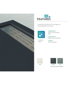 Ντουζιέρα Τεχνητού Γρανίτη Γραφίτης  80*140εκ. με γραμμικό σιφώνι F&D  Premium Series FDP80140G