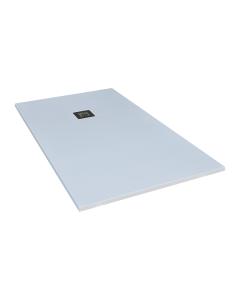 Ντουζιέρα Τεχνητού Γρανίτη Λευκή Ασύμμετρη  80*160εκ. με γραμμικό σιφώνι F&D Nature Series FD80160W