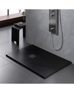 Ντουσιέρα 120*80*2,4 εκ. Υφή Πέτρας Μαύρο Ματ Χυτό Μάρμαρο Sirene Slate S12080-401