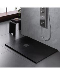 Ντουσιέρα 140*80*2,6 εκ. Υφή Πέτρας Μαύρο Ματ Χυτό Μάρμαρο Sirene Cast Marble Slate S14080-401