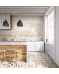 Πλακάκι Ντεκόρ Vintage Μπάνιου/Κουζίνας Πορσελανάτο  Silex Hydra Décor Beige 30*90cm AP6390