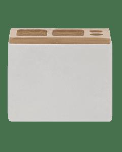 Ποτηροθήκη- Θήκη Οδοντόβουρτσες Λευκό Polyresin with Bamboo Sealskin Grace 361910310