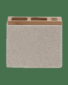 Ποτηροθήκη- Θήκη Οδοντόβουρτσες στο χρώμα της άμμου Polyresin with Bamboo Sealskin Grace 361910365