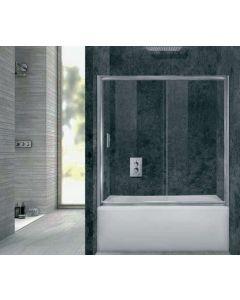 Πόρτα Μπανιέρας 125-130εκ. Ύψος 145εκ.1 Σταθερό-1 Συρόμενο Φύλλο, 6 χιλ. Διάφανο Κρύσταλλο, ΑΡΤΕΜΙΣ 2 211125130