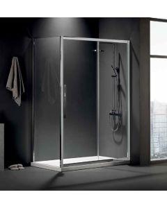 Πόρτα Ντουσιέρας 100 εκ. 1 Σταθερό+ 1 Συρόμενο Προφίλ Χρώμιο, 6 χιλ. Κρύσταλλο Clean Glass, Ύψος 195 εκ. Devon Flow Slider 1+1 SLF100C-100