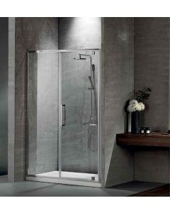 Πόρτα Ντουσιέρας 100 εκ.Mirror Finish 1 Σταθερό-1 Ανοιγόμενο, 6χιλ.Clean Glass,Ύψος 195 εκ.Devon Primus Plus Pivot+Infill PIR100C-100