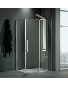 Πόρτα Ντουσιέρας 120 εκ. Προφίλ Χρώμιο 1 Σταθερό-1 Συρόμενο 8 χιλ.Κρύσταλλο Clean Glass,Ύψος 200 εκ.Devon Slider 1+1 Breeze BSL120C-100