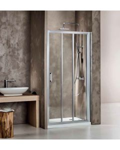 Πόρτα Ντουσιέρας 120 εκ. 1 Σταθερό-2 Συρόμενα, Προφίλ Χρώμιο, Ύψος 185 εκ., 5 χιλ. Κρύσταλλο Clean Glass Axis Triple Slider SL3X120C-100