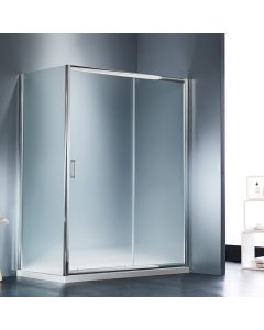 Πόρτα Ντουσιέρας 130εκ.1 Σταθερό +1 Συρόμενο Κρύσταλλο Αμμοβολή Starlet Slider Fabric SLS130F-100