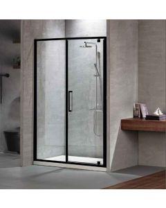 Πόρτα Ντουσιέρας 140 εκ. Μαύρο Μάτ 1 Σταθερό-1 Ανοιγόμενο  6 χιλ. Clean Glass,Ύψος 195 εκ.Devon Primus Plus Pivot+Infill PIR140C-400