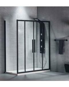 Πόρτα Ντουσιέρας 180 εκ. Προφίλ Μαύρο Ματ 2 Σταθερά-2 Συρόμενα  6 χιλ.Κρύσταλλο Clean Glass,Ύψος 195 εκ.Devon Flow Slider 2+2 SL2F180C-400