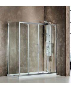 Πόρτα Ντουσιέρας 200 εκ. Χρώμιο 2 Σταθερά-2 Συρόμενα, 6 χιλ.Κρύσταλλο Clean Glass,Ύψος 195 εκ.Devon Primus Plus Slider 2+2 SL2T200C-100