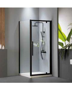 Πόρτα Ντουσιέρας 90 εκ. 1 Ανοιγόμενο Μαύρο Ματ, Ύψος 195 εκ. 6 χιλ.Clean Glass Devon Flow Pivot  PF90C-400
