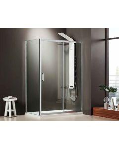 Πόρτα ντουσιέρας 130 εκ. Κρύσταλλο 6 χιλ. Clean Glass Ύψος 185 εκ.1 σταθερό & 1 συρόμενο φύλλο Axis Slider 1+1 SLX130C-100