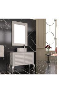 Σετ Έπιπλο Μπάνιου Βάση 90,5 εκ. -Νιπτήρας Επιτραπέζιος Ø44 εκ. Rombo-Λευκός Solid Πάγκος -Καθρέπτης Art 70*100 εκ. Savvopoulos Elegance La Romanza 1