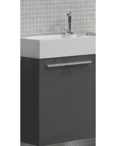 Σετ Έπιπλο Μπάνιου-Νιπτήρα τύπου Corian 40 εκ.,-Καθρέπτη 40*120 εκ., Χρώμα Iron Grey Λάκα Γυαλιστερή ECO-40 FT21.040.001IG