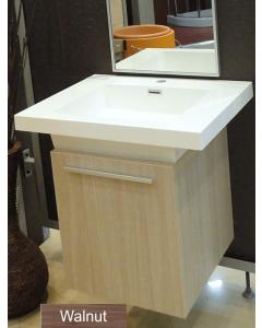 Σετ Έπιπλο Μπάνιου-Νιπτήρα 40 εκ. τύπου Corian- Καθρέπτης με πλαίσιο αλουμινίου 40*100 εκ. Χρώμα Walnut (Καρυδιά)  FT21.040.006W