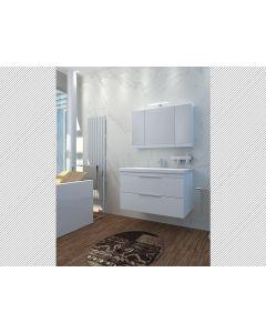 Σετ Έπιπλο Μπάνιου 100 εκ. Λευκή Λάκα Βάση -Νιπτήρας, Καθρέπτης, Φωτιστικό Savvopoulos Likno I
