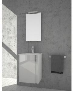 Σετ Έπιπλο Μπάνιου 45*43 εκ. Βάση Λευκή Λάκα Γυαλιστερή-Νιπτήρας Linea -Καθρέπτης-Φωτιστικό Savvopoulos Luxury Amazon 006