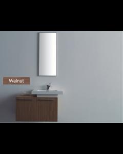 Σετ Έπιπλο Μπάνιου ECO-80BR 80 εκ.-Νιπτήρα τύπου Corian-Καθρέπτη 40*100 εκ., Χρώμα Walnut (καρυδί) FT21.080.002W